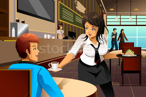Waitress in a restaurant serving customers Stock photo © artisticco