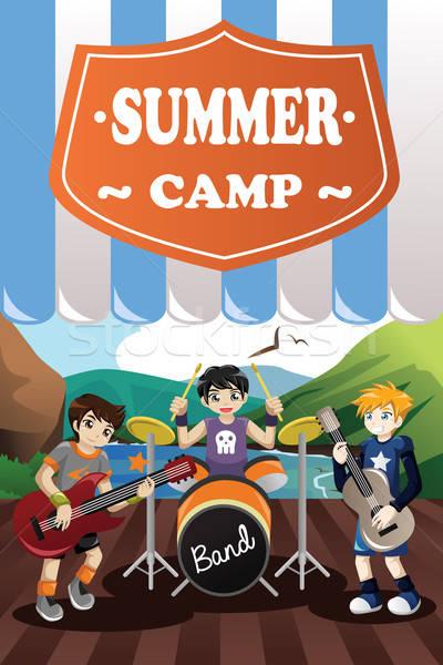 Gyerekek zenekar nyári tábor szórólap fiatalság rajz Stock fotó © artisticco