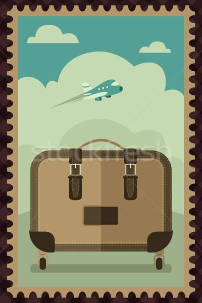 Bağbozumu seyahat bagaj poster dizayn uçak Stok fotoğraf © artisticco