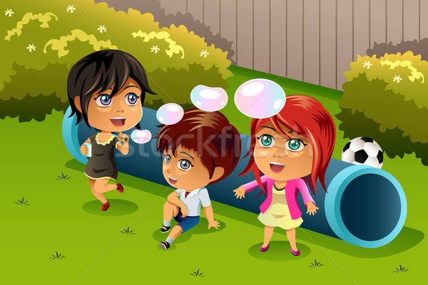 Gyerekek játszanak buborékok boldog park lány gyerekek Stock fotó © artisticco