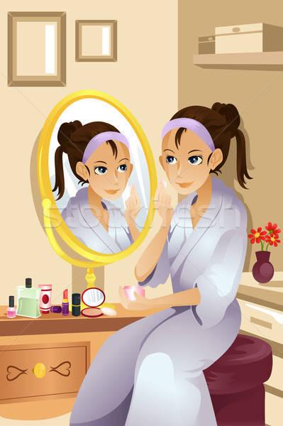 Mulher make-up bela mulher dia vida Foto stock © artisticco