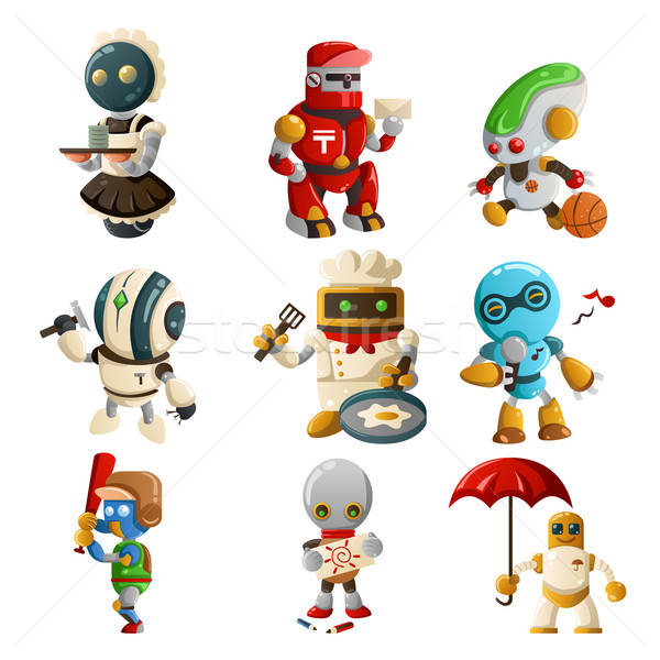 Robots doing different things Stock photo © artisticco