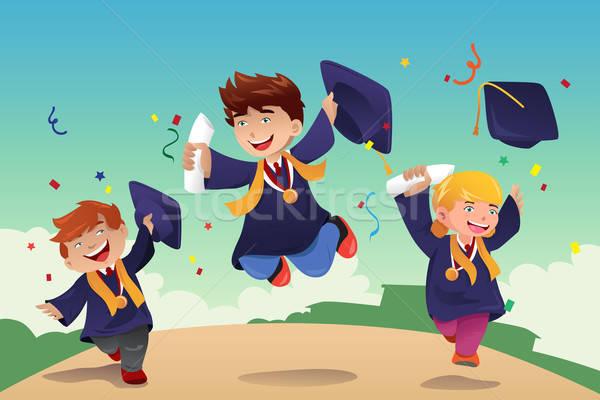 Diákok ünnepel érettségi mosoly gyerekek gyerekek Stock fotó © artisticco