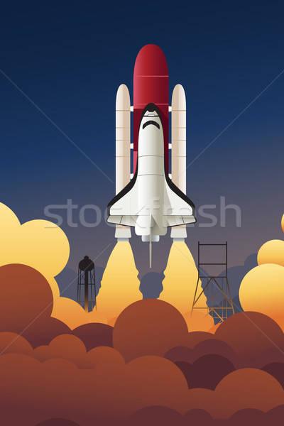 Rakéta űr technológia utazás műhold rajz Stock fotó © artisticco