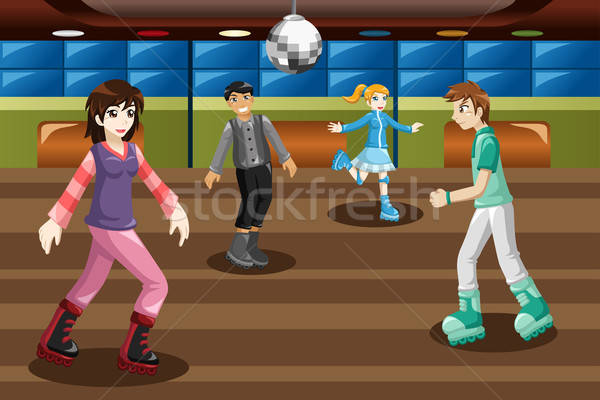 Teenagers roller skating in an indoor arena Stock photo © artisticco