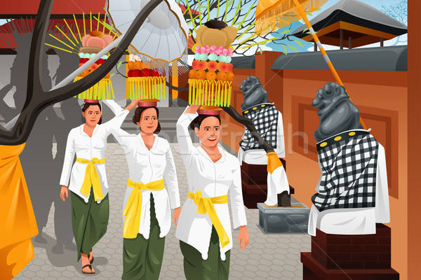 Balinese people in a traditional celebration Stock photo © artisticco