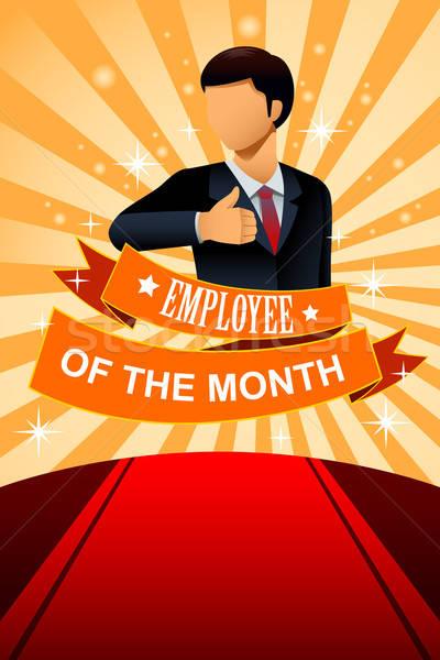 Empregado mês cartaz quadro projeto empresário Foto stock © artisticco