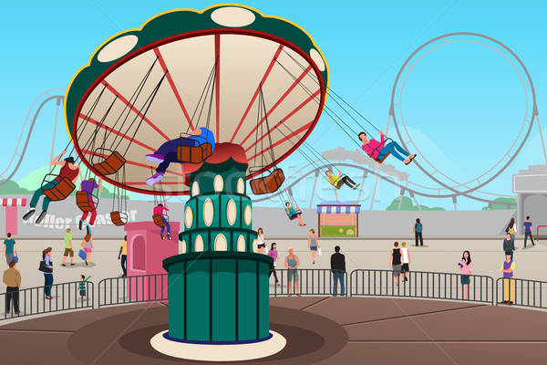 People Having Fun in Amusement Park Stock photo © artisticco