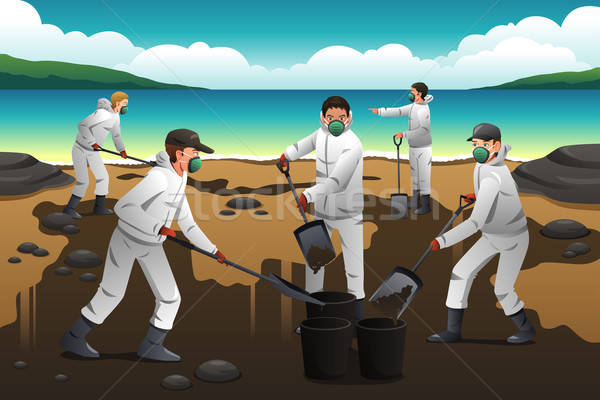 People Cleaning After an Oil Spill Stock photo © artisticco