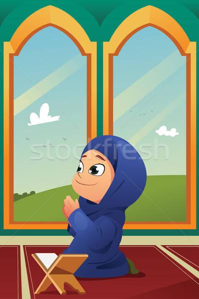 Musulmanes nina rezando mezquita nino jóvenes Foto stock © artisticco