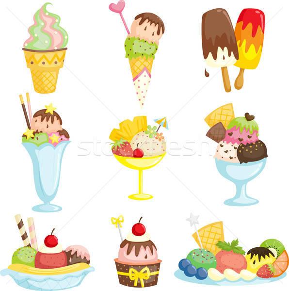 Ijs heerlijk chocolade dessert tekening icecream Stockfoto © artisticco