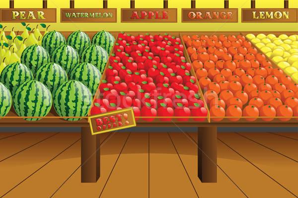 Bakkal üretmek koridor alışveriş turuncu iç Stok fotoğraf © artisticco