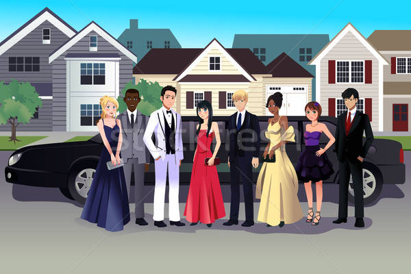 Teen in prom dress standing in front of a long limo Stock photo © artisticco