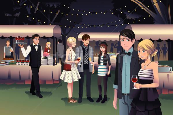 люди ночь вечеринка Открытый молодые Сток-фото © artisticco
