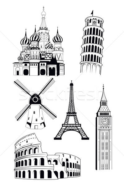 European travel destinations in ink style Stock photo © artisticco