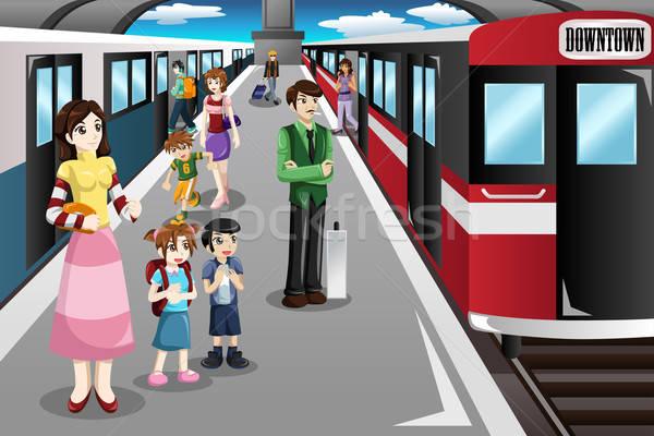 Mensen wachten treinstation gelukkig mannen reizen Stockfoto © artisticco