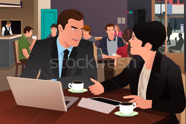 ビジネスの方々  食べ 一緒に カフェテリア 男 ストックフォト © artisticco