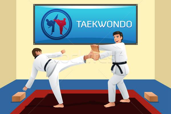 Insanlar taekwondo spor uygunluk tuğla Stok fotoğraf © artisticco