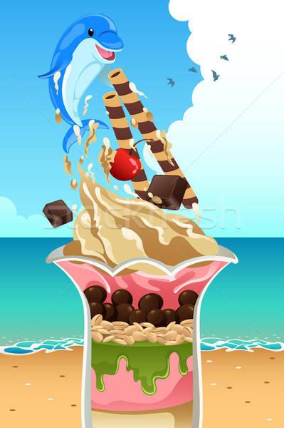 アイスクリーム サンデー 夏 ポスター ビーチ 食品 ストックフォト © artisticco
