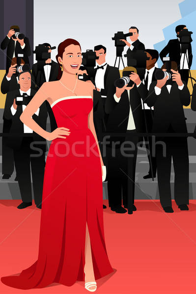 Beautiful Woman Going to a Red Carpet Event Illustration Stock photo © artisticco