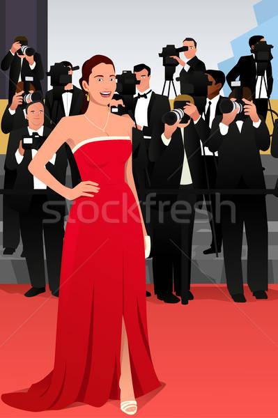 Gyönyörű nő vörös szőnyeg esemény illusztráció nő sajtó Stock fotó © artisticco