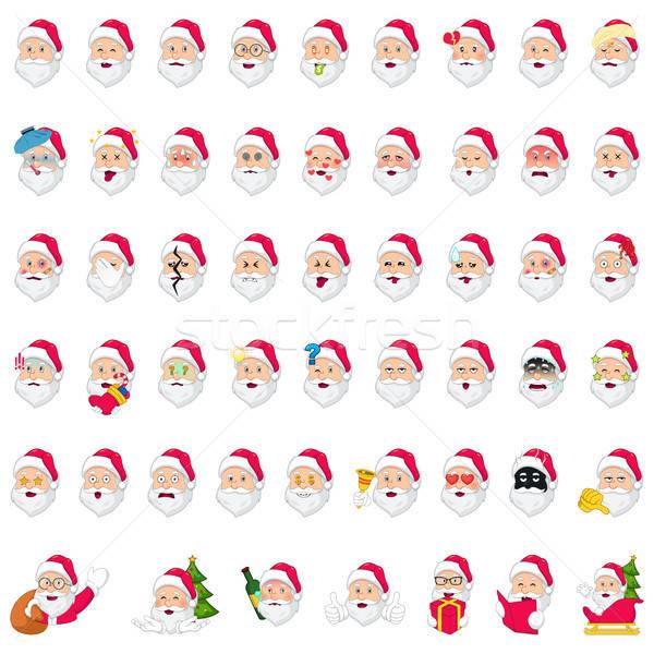 Mikulás ikonok illusztráció boldog karácsony ünnep Stock fotó © artisticco