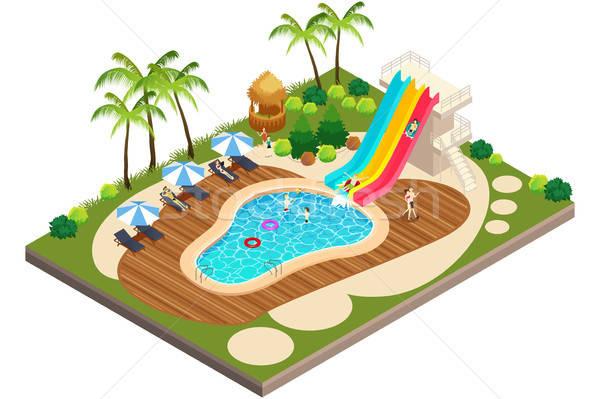 Isometric View of Swimming Travel Resort Illustration  Stock photo © artisticco