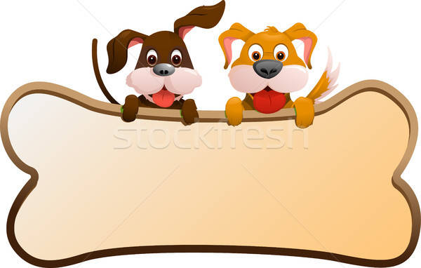 Dogs with banner Stock photo © artisticco