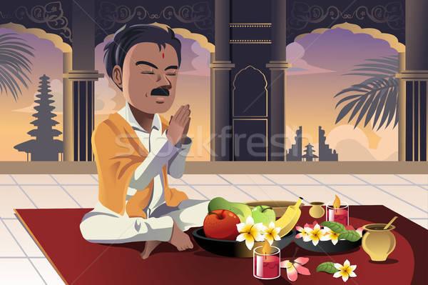 молиться человека храма поклонения только Cartoon Сток-фото © artisticco