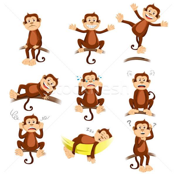 Scimmia diverso felice triste disegno cartoon Foto d'archivio © artisticco