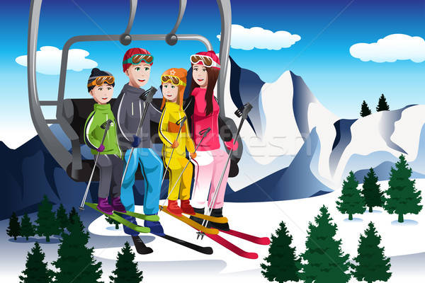 Family going skiing sitting on a ski lift Stock photo © artisticco