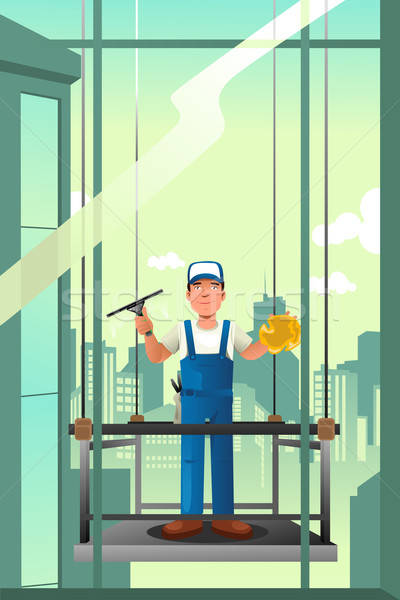 Windows cleaner of high rise buildings Stock photo © artisticco