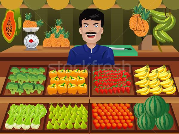 фрукты продавец фермер рынке улыбка клубника Сток-фото © artisticco