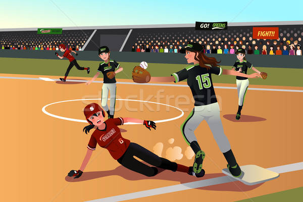 Women playing softball Stock photo © artisticco