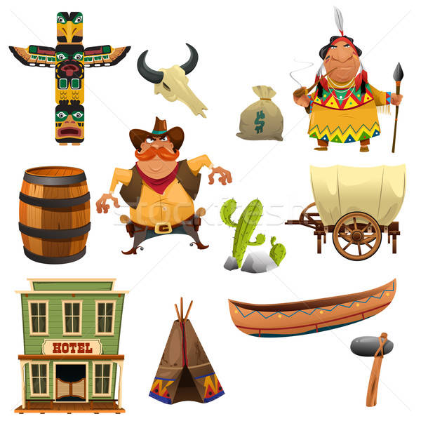 Cowboys and Indians Icons Stock photo © artisticco