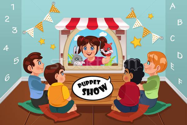 дети смотрят марионеточного шоу счастливым детей Сток-фото © artisticco