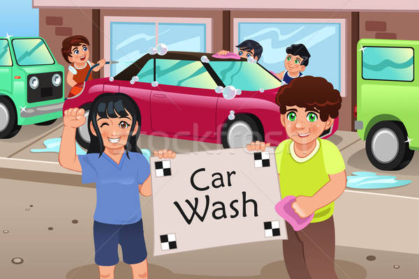 Kids Holding a Car Wash Poster Stock photo © artisticco