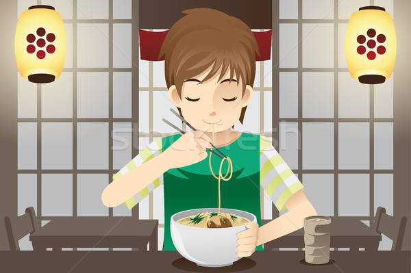 Boy eating noodle Stock photo © artisticco
