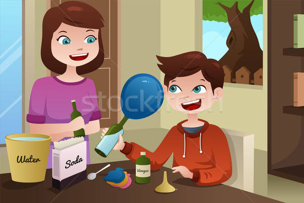 Mother helping son build a science project Stock photo © artisticco
