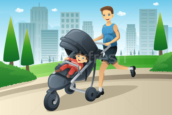 Father jogging while pushing a stroller  Stock photo © artisticco