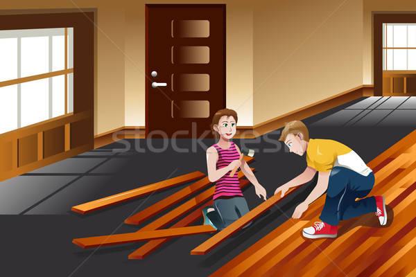 Drewnianej podłogi rodziny człowiek domu Zdjęcia stock © artisticco