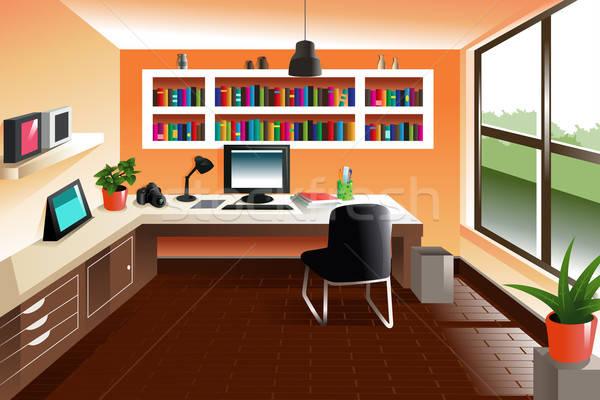 Modern bakıyor Çalışma alanı büro bilgisayar kitaplar Stok fotoğraf © artisticco