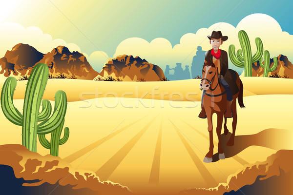 Cowboy jazda konna konia pustyni człowiek zwierząt Zdjęcia stock © artisticco