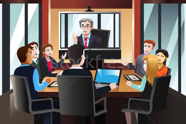 деловые люди видео конференции служба бизнеса мужчин Сток-фото © artisticco