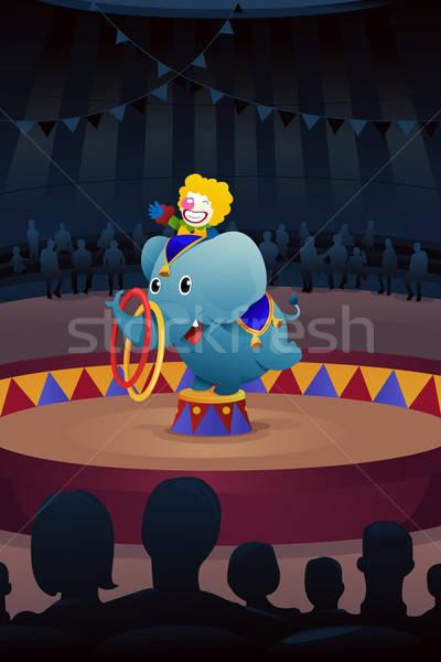 цирка исполнении этап слон клоуна рисунок Сток-фото © artisticco