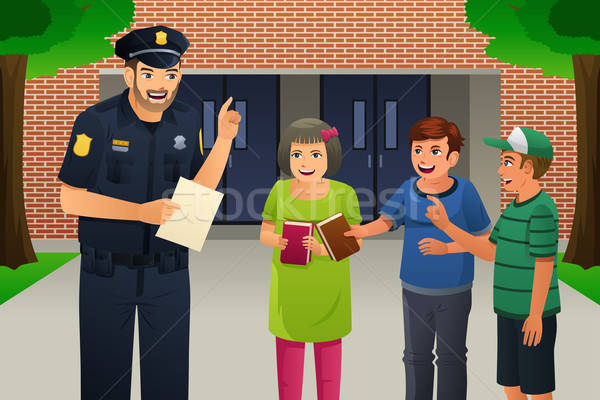 Stock fotó: Rendőr · beszél · gyerekek · lány · mosoly · gyerekek