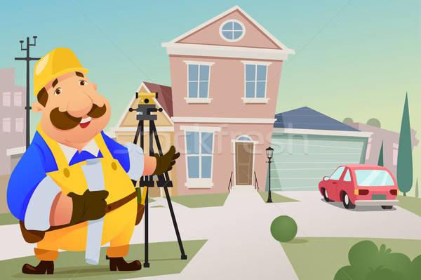 Auftragnehmer stehen Haus Business Mann Arbeitnehmer Stock foto © artisticco