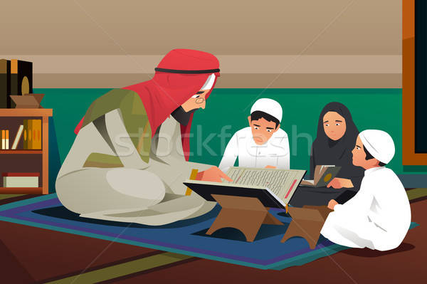 Imam Reading Quran With His Students Illustration Stock photo © artisticco