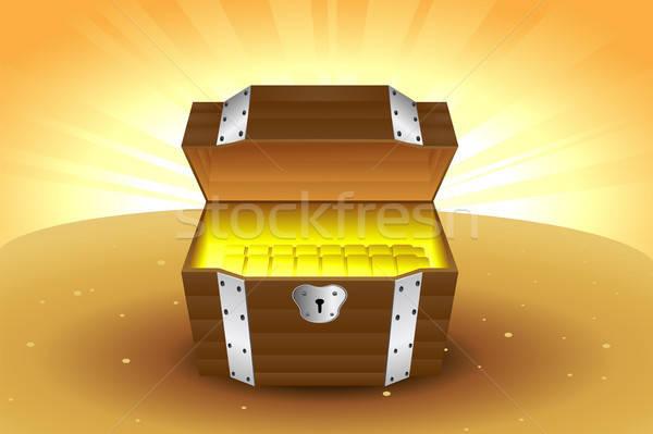 木製 金 ボックス コンセプト ストックフォト © artisticco