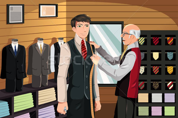 Tailor fitting for suit Stock photo © artisticco